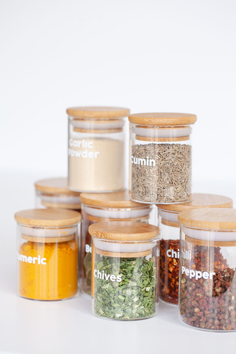 LUXE Glass and Bamboo Spice Jar Package - 20 pack