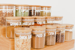 LUXE Glass and Bamboo Spice Jar Package - 12 pack