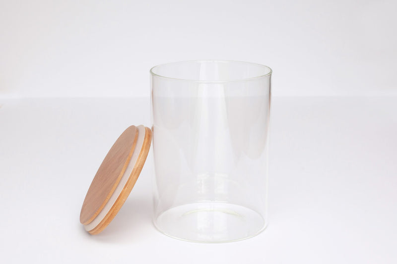 LUXE Glass and Bamboo Storage Vessel 750ml