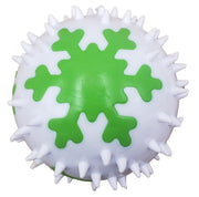 Heavy Chewer White Ball with Green Snowflakes - The Dapper Dog Box