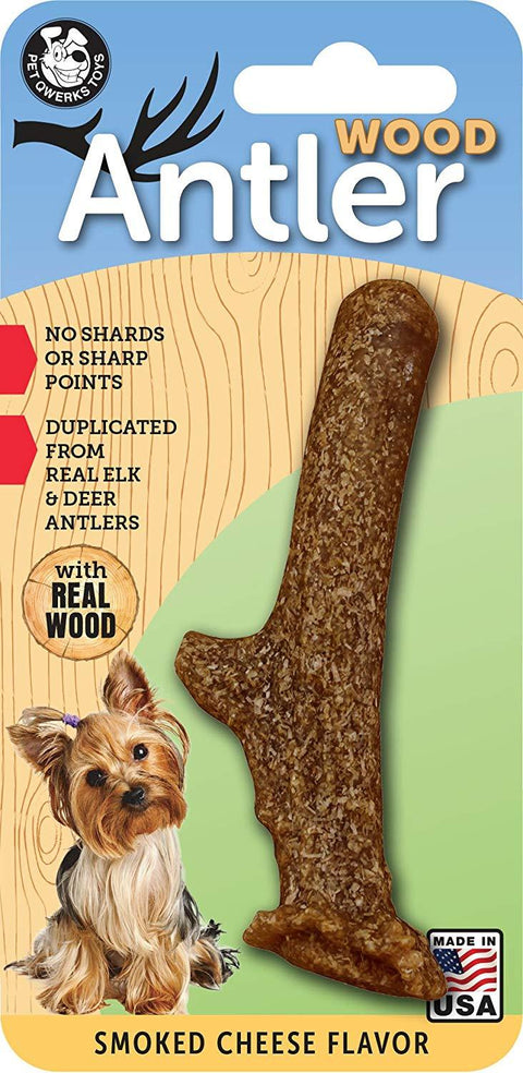 Pet Qwerks Wood Antler Smoked Cheese Flavor - Small Size - The Dapper Dog Box
