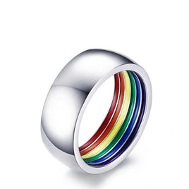 Fashion Rainbow Ring Interior Colored Titanium Steel Jewelry Ball Party Holiday Gift