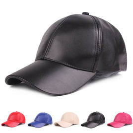 Women Men Hat PU Leather Baseball Cap Visor Light Board Solid Men Hip Hop Cap Outdoor Sun Hat Adjustable Sports caps