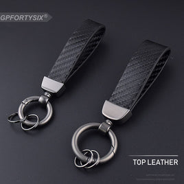 Motorcycle Car Keychain Carbon Fiber Leather Black Zinc Alloy Key Chain Key Rings Gift Auto Styling Accessories For BMW Honda