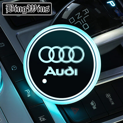 LED light Audi logo car coaster
