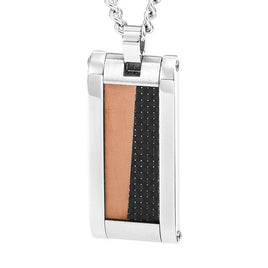 Vivari Women's Stainless Steel Black Carbon Fiber Pendant With 18 Inches Stainless Steel Necklace Fashion Accessories