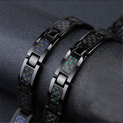 Mens Health Energy 3 IN 1 Bracelet Blue Carbon Fiber Bangle Twisted Magnetic Bracelet Stainless Steel Women Power Therapy Magnet