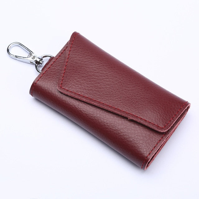 Genuine Leather Keychain Men Women Key Holder Organizer Pouch Cow Split Car Key Wallet Housekeeper Key Case Mini Card Bag