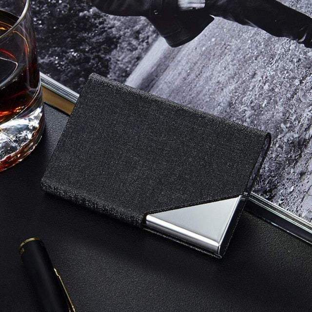 Rfid Wallet Business ID Credit Card Holder For Women Men Fashion Brand Metal Aluminum Card Case PU Leather  Porte Carte