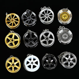 Wheel Rim Hub Tuning Mini Keychain Key Chain Keyring Key Ring Pendent JDM Hellaflush Zinc Alloy Car Truck TE37 CVT MB Design