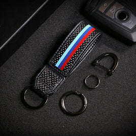 Carbon Fiber Car Key Fob Holder Keychain Key Ring For BMW M Sport E90 E60 F30