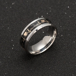 Women's Rings Luminous Mood ECG Ring Temperament Men's Ring Carbon Fiber Couple Wedding Rings  Valentine's Day Gift