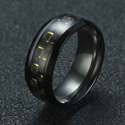 Vnox Carbon Fiber Ring Man Stainless Steel Metal Black Party Jewelry 4 Color