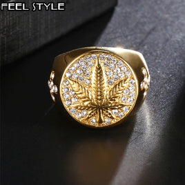 HIP Hop 316L Stainless Steel Iced Out Bling Gold Color Ring Micro Paved Rhinestone Weed Maple leaf Rings for Men Jewelry