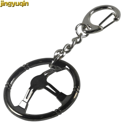jingyuqin Popular Jewelry Keychain Sleeve Bearing Spinning Auto Stainless Steel Car Steering Wheel Model Urbocharger Key Ring