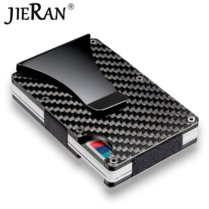 Carbon Fiber Wallet Slim Metal Credit Card Holder Hot New Design Minimalist Rfid Blocking Men Cardholder Anti Protect Clip Sets