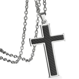BONISKISS Carbon Fiber Stainless Steel Mens Cross Necklace Pendant, Black Silver Color , 21.5 inch Chain