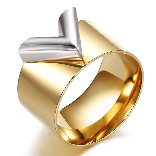 Fashion Famous Brand Women Ring Jewelry Double Color Gold Anillos Mujer Femmel Titanium Steel High Polished Luxury