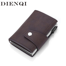 DIENQI Anti Rfid Slide Credit Card Holder Genuine Leather Men Smart Minimalist Wallet Aluminum Metal Cardholder Bag dropshipping