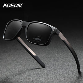 KDEAM Rectangular Polarized Sunglasses Men Outdoor Driving Sun Glasses Man TR90 Flexible Frame Mix Stainless Steel Temple
