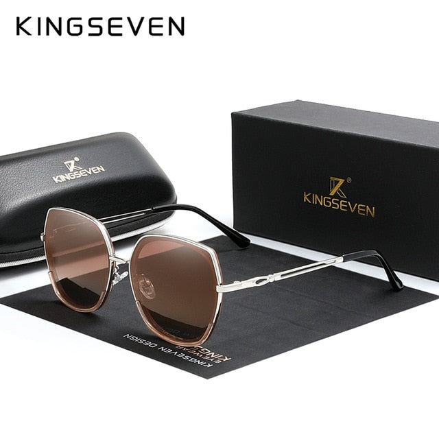 KINGSEVEN Women's Sunglasses Polarized Gradient Lens Luxury Ladies Butterfly Design Stainless Steel Sun glasses Accessories