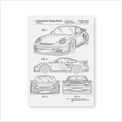 Car Patent for Porsches Artwork Prints Sports Car Canvas Wall Art Poster Room Decor Blueprint Art Painting Picture Gift idea