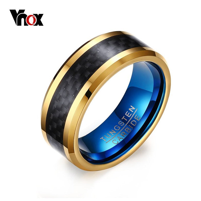 Vnox 8mm Blue Tungsten Carbide Rings Men Jewelry Not Ccratch Black Carbon Fiber
