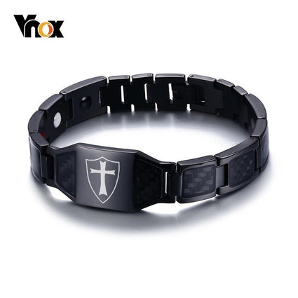 Vnox Stylish Carbon Fiber Knights Templar Shield Magnetic Bio Energy Bracelets for Men Cross Faith Therapy Male Pulseira 8.26""