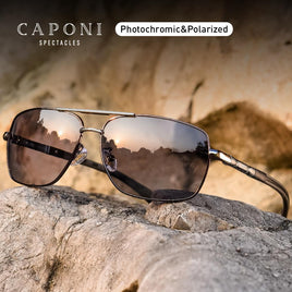 CAPONI Photochromic Men's Sunglasses Polarized Classic Brand Design Anti Ray Shades Driving Square Sun Glasses Men UV400 CP8724