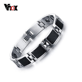 Vnox Men's Black Health Hematite Bracelet Carbon Fiber Power Stone Bracelets Bangles Men Gift Jewelry