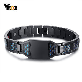 Vnox Health Energy Carbon Fiber Bracelets Bangles for Men Jewelry Stainless Steel Bio Magnetic pulseira masculina 8.26""