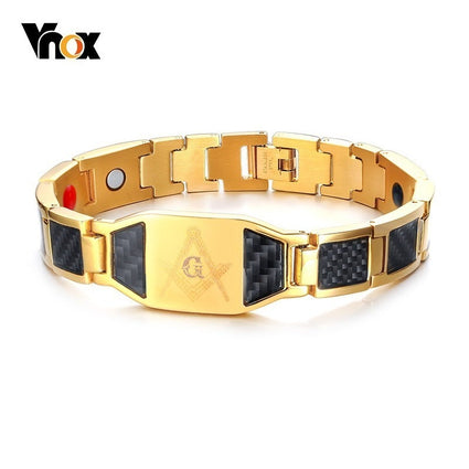 Vnox Punk Free Mason Bio Energy Bracelets for Men Unique Carbon Fiber Magnetic Healthy pulseira masculina 8.26""