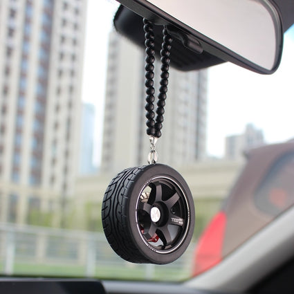Black wheel with black chain for rearview mirror