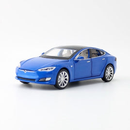 Proswon/1:32 Scale/Diecast Toy Model/Tesla Model S/Sound & Light Car/Pull back Educational Collection/Doors Openable/Gift/Kid