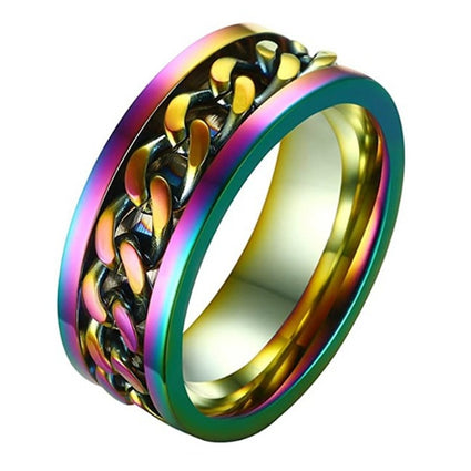 8MM Titanium Stainless Steel 5 Color Rotating Chain Ring Punk Style Personality Men's Ring Jewelry Charm Party Gift