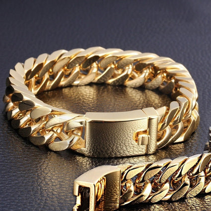 Luxurious Men Nracelet Plated Gold Curb Chain Bracelet Stainless Steel Bracelet Bangles Charm Bracelet Men Heavy Jewelry