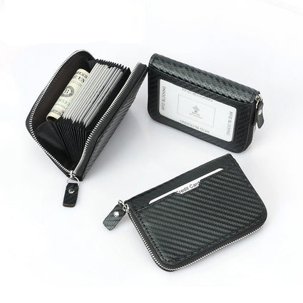 BONAMIE Carbon Fiber Bank Credit Card Holder For Man Microfiber Short Business Card Case Holder With Zipper Card Wallet New