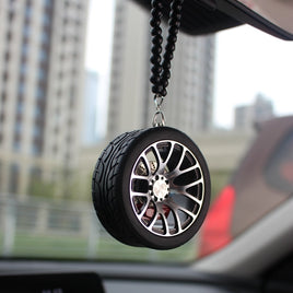 Rear Mirror Pendant Auto Accessorie Decor Interior Metal Wheel Tire Lanyard Keychain Hanging Ornaments For Car Styling Gadgets