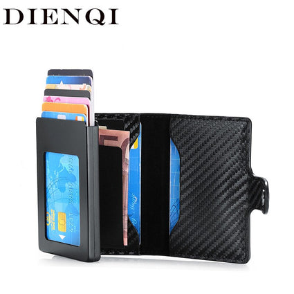 DIENQI Rfid Carbon Fiber id Credit Card Holder Case Metal Smart Minimalist Wallet Men Business Bank Cardholder 2020 Cart Holder