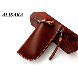 Key Wallet handmade Vintage Scabbard shape First Layer Leather Cowhide Pocket Car Key Holder Key Organizer Holder man