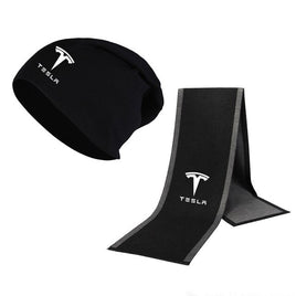 Fashion Winter new Beanie Hat Tesla Car Logo Hat Scarf Solid Color Warm high quality Cotton Unisex Sports Hat Scarf Set 2 Pcs