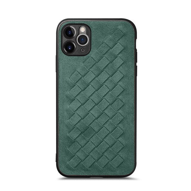 YMW ALCANTARA Weave Case for iPhone 11 12 Pro Max Xr Xs Max 7 8 Plus Luxury Artificial Leather Phone Cases X SE 2020 Cover