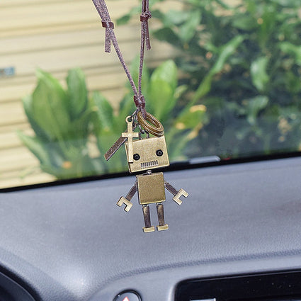 Car Pendant Decoration Cute Retro Robot Rearview Mirror Pendant Car Pendant Jewelry Car Interior Decoration Accessories