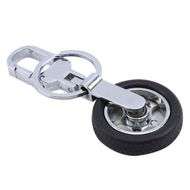 Rotating car wheel keychain