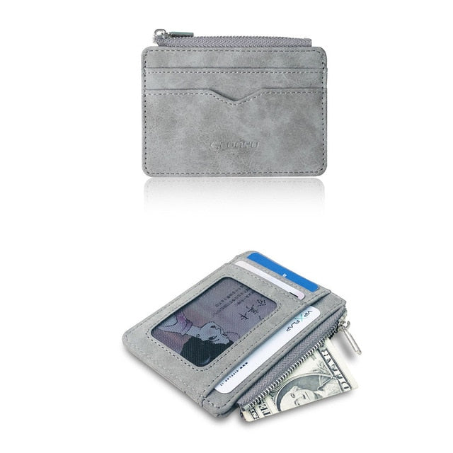 Men's card wallet Short Matte Leather Retro Multi-card Frosted Fabric Card Holder Money New Minimalist Purse Transparent Coins