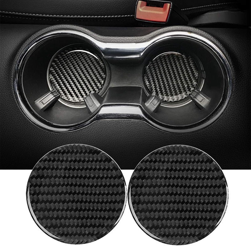 Cup Holder Coasters Pad Waterproof for Ford Mustang 2015 2016 2017 2018 2019 2020 Carbon Fiber