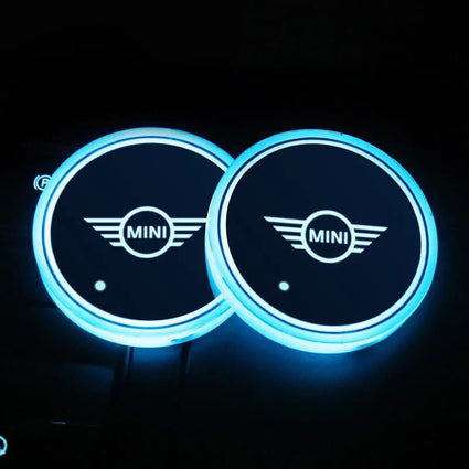 LED light Mini logo car coaster (2x)