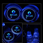 2X Led Car Logo Cup Lights Colorful Luminous Water Coaster Atmosphere Light For Smart 451 453 Fortwo Forfour Auto Accessories