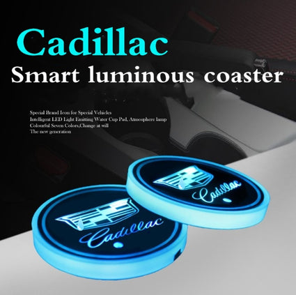 2X Led Car Logo Cup lights UBS car atmosphere light for Cadillac colorful intelligent Smart luminous water coaster