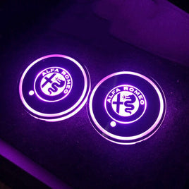 2X Led Car Logo Cup Lights Colorful Luminous Water Coaster Atmosphere Light For Alfa Romeo Giulietta Spider Mito 147 156 159 166